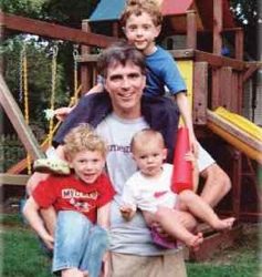 Randy Pausch with his children Chloe, Dylan and Logan