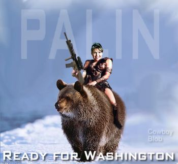 Sarah Palin riding her official vehicle