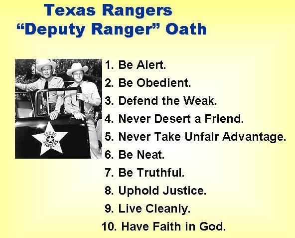 """Texas Rangers """"Deputy Ranger"""" Oath"""