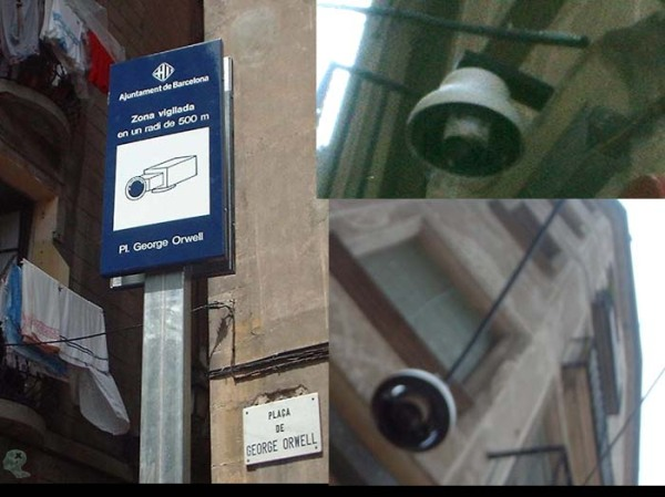 A street named in Orwells honour in Barcelona, with spycams....